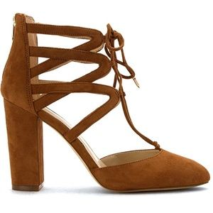 Cognac Suede Ghillie Lace Up Chic High Heel Pump